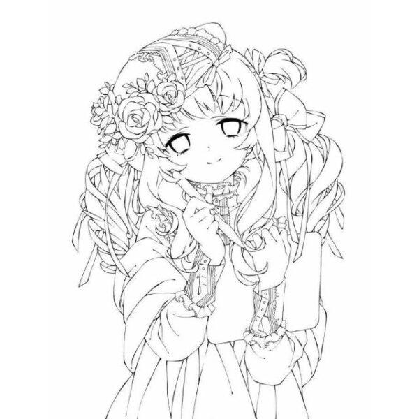 hình tô màu công chúa anime hoạt hình