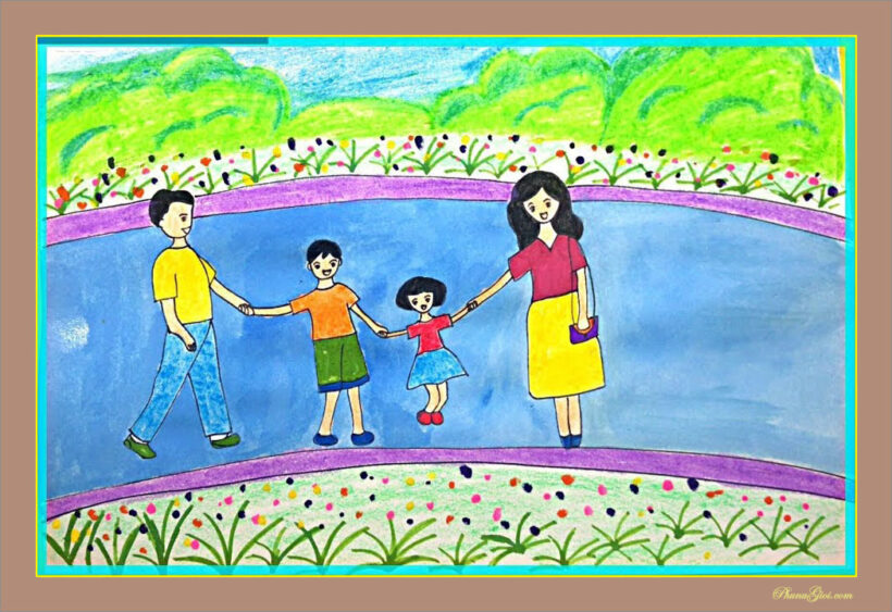 tranh vẽ đề tài gia đình đẹp và ý nghĩa