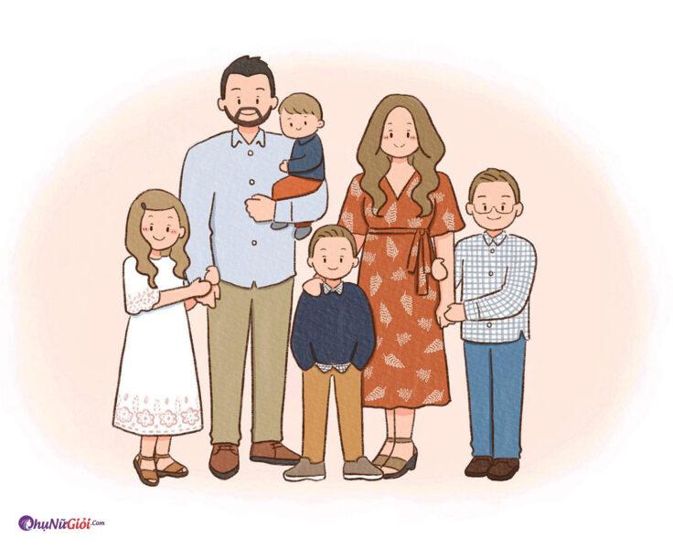vẽ tranh đề tài gia đình 6 người hạnh phúc bên nhau