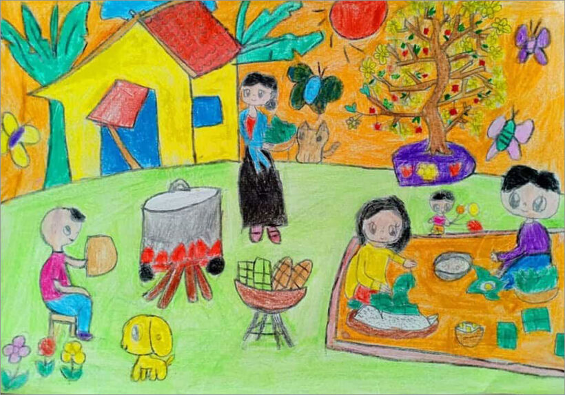 vẽ tranh đề tài gia đình ngày tết đơn giản nhưng đẹp