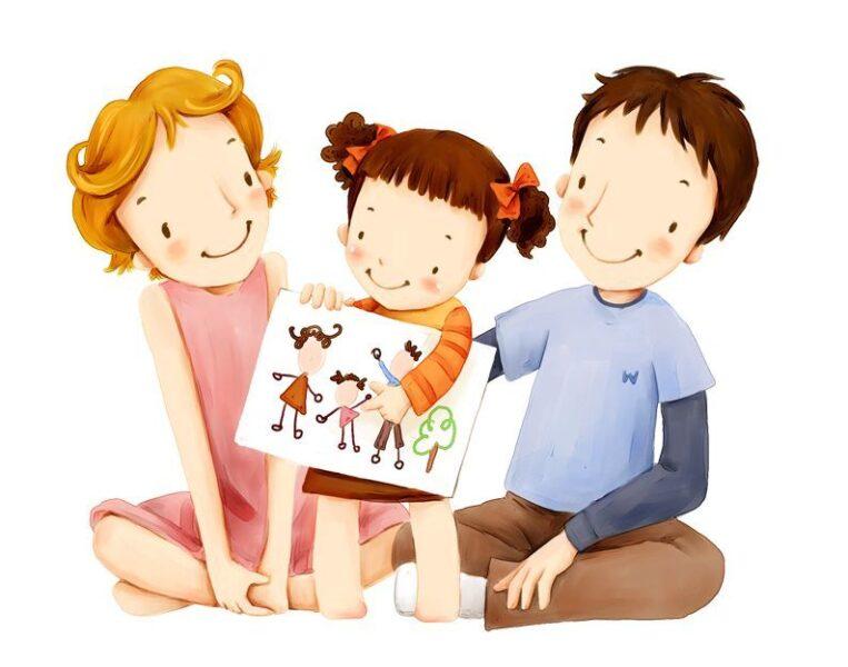 vẽ tranh gia đình 3 người vui vẻ