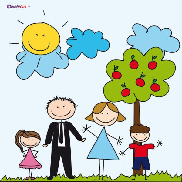 vẽ tranh gia đình vui vẻ