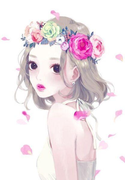 ảnh đại diện cô gái đội vòng hoa