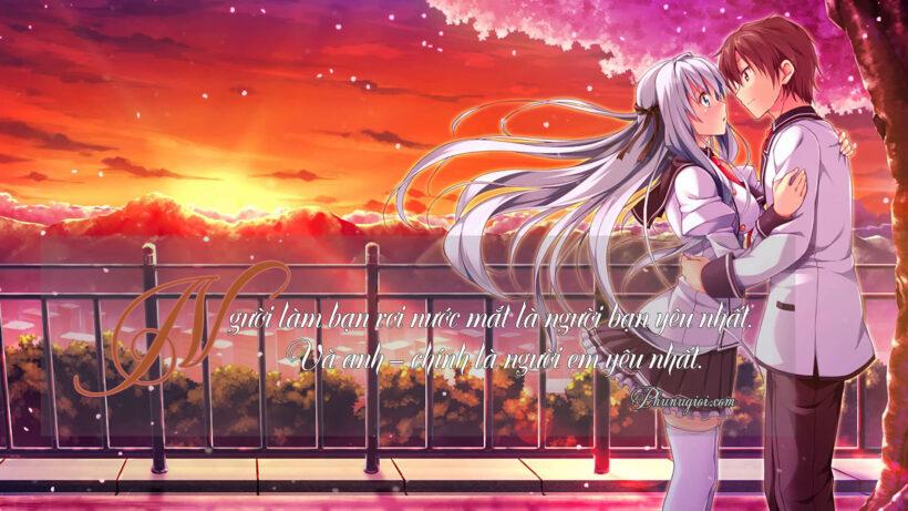 hình ảnh anime tình yêu có chữ học đường làm hình nền
