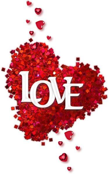 ảnh chữ love và trái tim hoa hồng lãng mạn