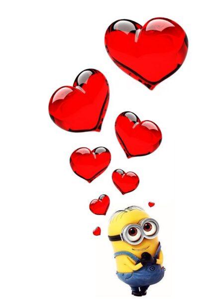 ảnh nền minion và trái tim tình yêu cho điện thoại
