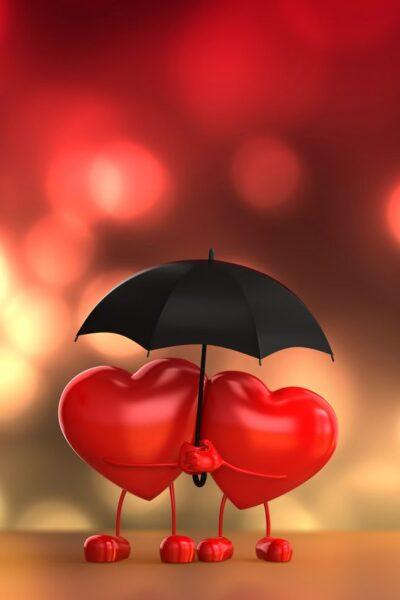 hình ảnh hai trái tim đang che ô lãng mạn
