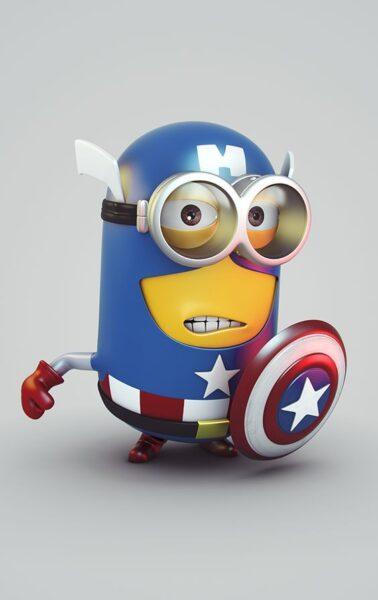 hình minion làm siêu nhân anh hùng caption america