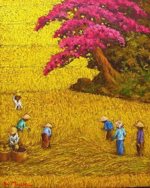 Vẽ tranh đề tài phong cảnh quê hương lớp 9 đơn giản mùa gặt