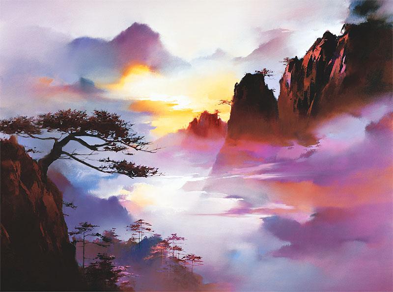 vẽ tranh phong cảnh núi non huyền ảo