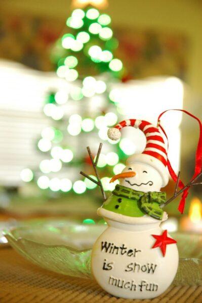 hình ảnh người tuyết vui vẻ đón Noel ấm áp