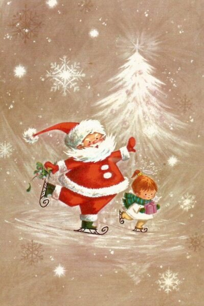 hình ảnh ông già noel tặng quà giáng sinh cho bé