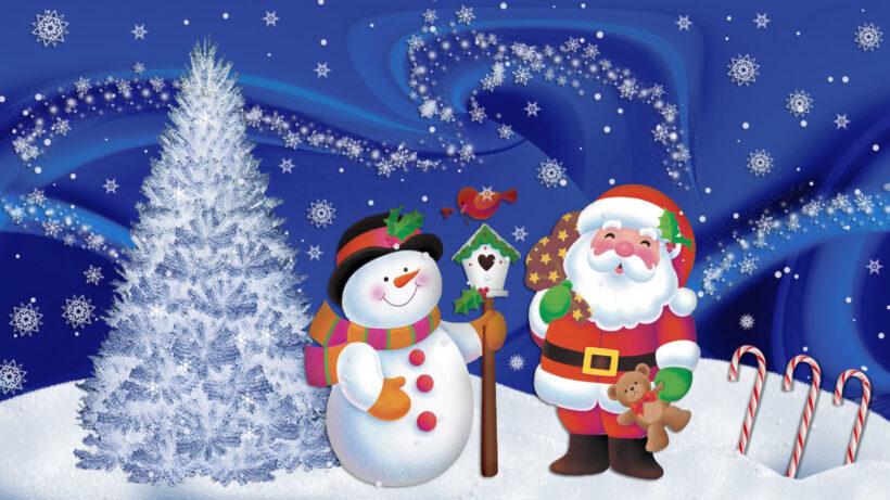 hình ảnh ông già noel và người tuyết vui vẻ đón giáng sinh