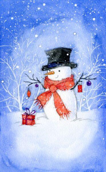 hình vẽ người tuyết ấm áp hạnh phúc nhận quà của ông già noel