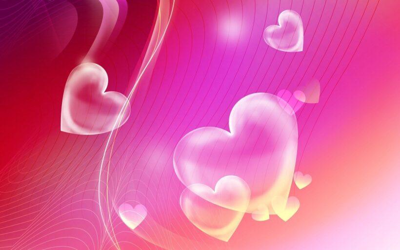 hình nền màu hồng trái tim tình yêu