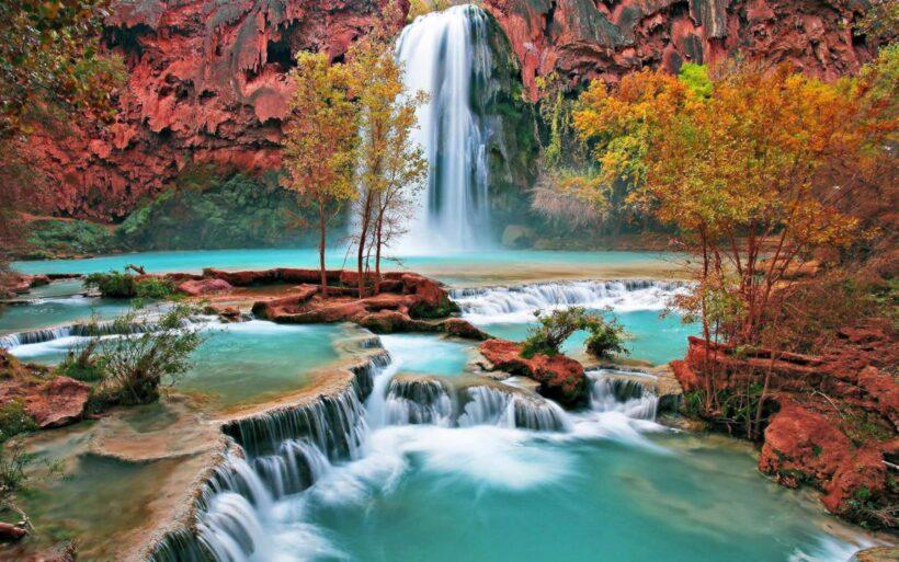 hình nền thác nước trong rừng cây lá đỏ