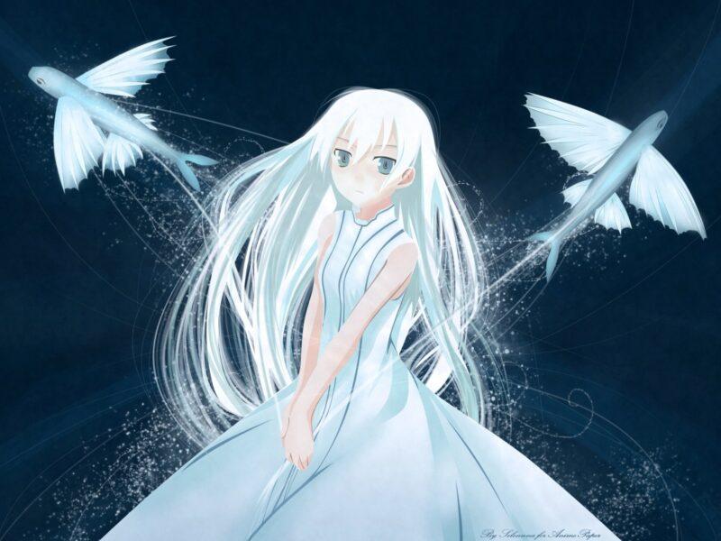 Anime girl tóc trắng mắt xanh xinh đẹp