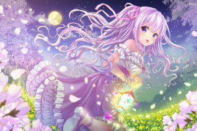 hình ảnh anime girl tóc tím