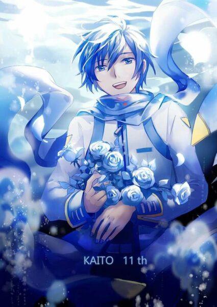 hình ảnh anime nam tóc xanh và hoa hồng xanh