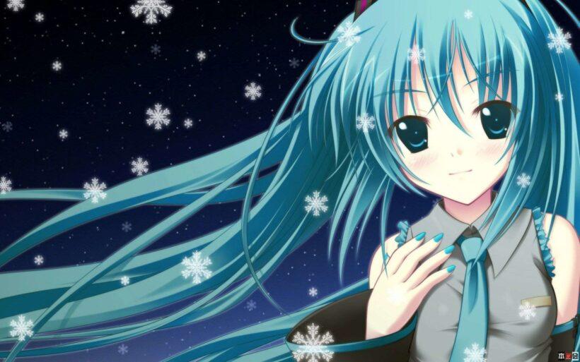 Hình ảnh anime tóc xanh cùng hoa tuyết