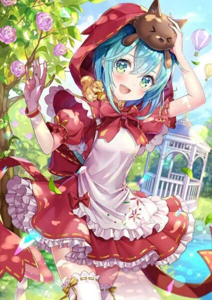Hình ảnh anime tóc xanh vui chơi trong vườn