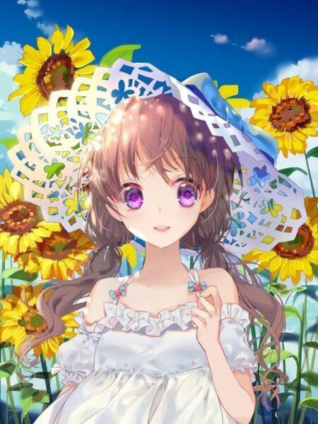ảnh đại diện anime trong vườn hoa hướng dương