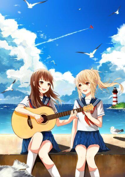 ảnh đại diện bff nữ anime chơi đàn