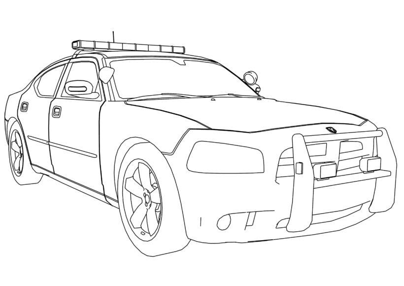 Ảnh tô màu xe cảnh sát cho bé tập tô