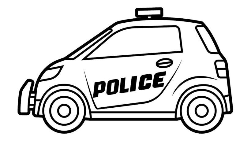 Ảnh xe cảnh sát cho bé tô màu