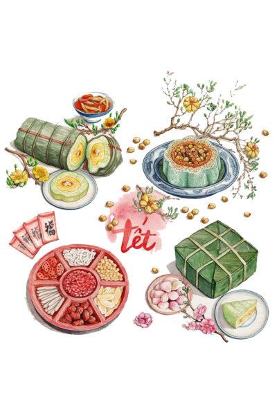 Hình ảnh bánh chưng và những món ăn ngày tết