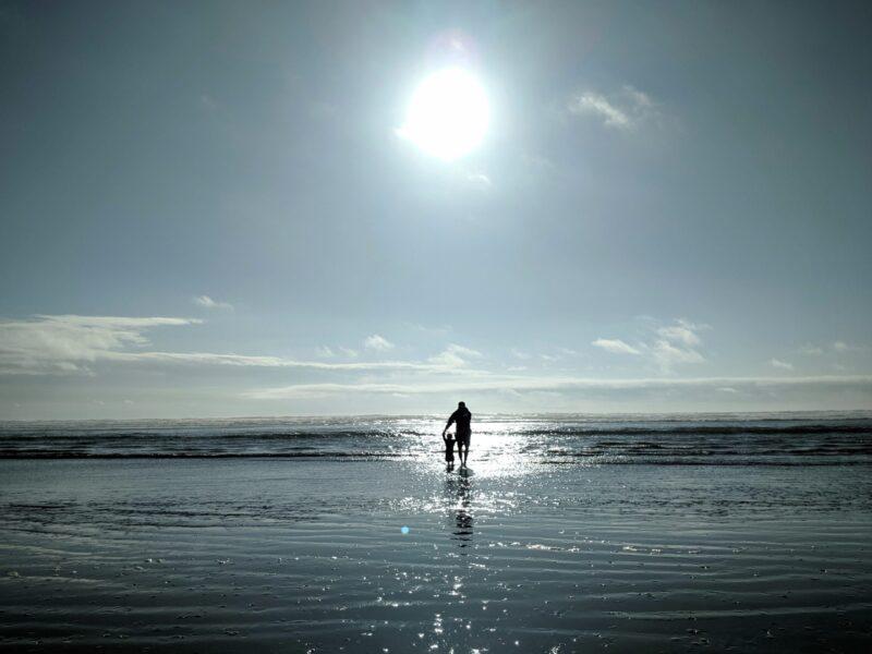 hình ảnh cha con bên bờ biển