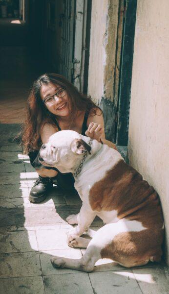 hình ảnh chó pitbull và cô gái