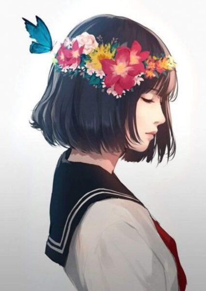 hình ảnh cô gái buồn anime tóc ngắn
