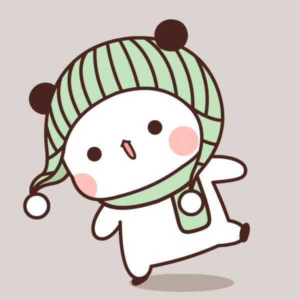 hình ảnh gấu trúc chibi đáng yêu đội mũ len màu xanh