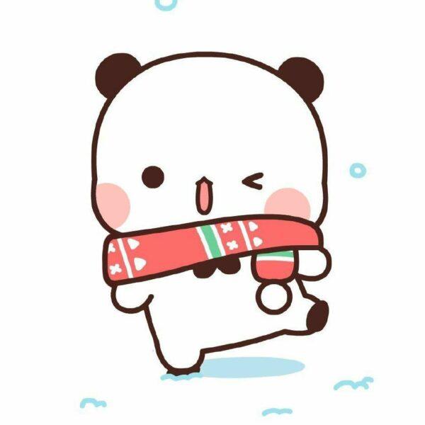 hình ảnh gấu trúc chibi quàng khăn len ấm áp mùa đông tuyết rơi