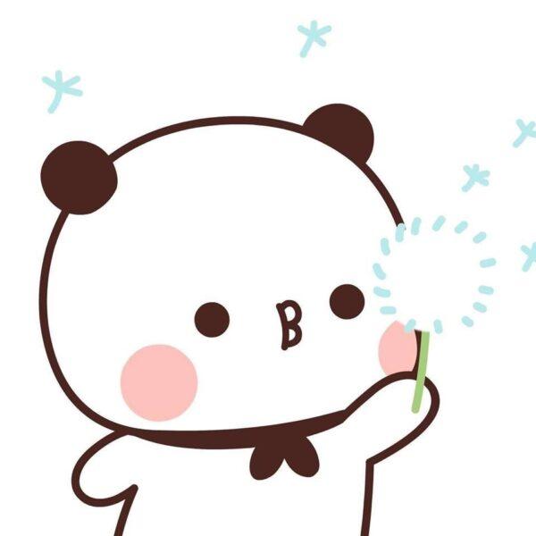 hình ảnh gấu trúc cute chibi thổi hoa bồ công anh dễ thương
