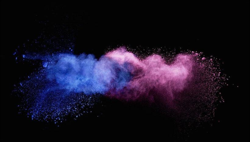 hình ảnh khói xanh và hồng