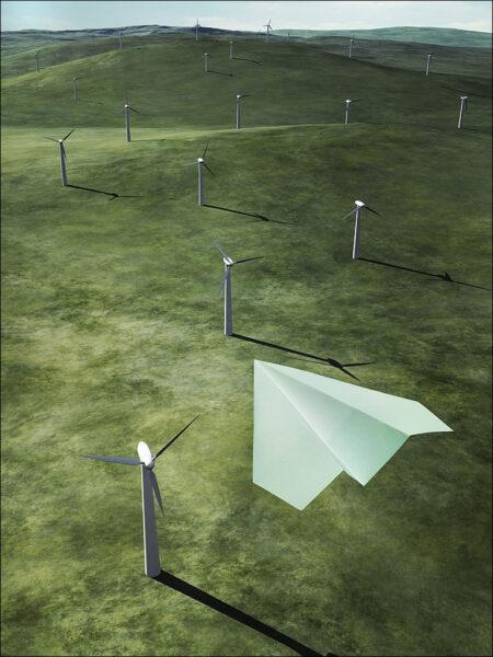 hình ảnh máy bay giấy trên cánh đồng quạt gió