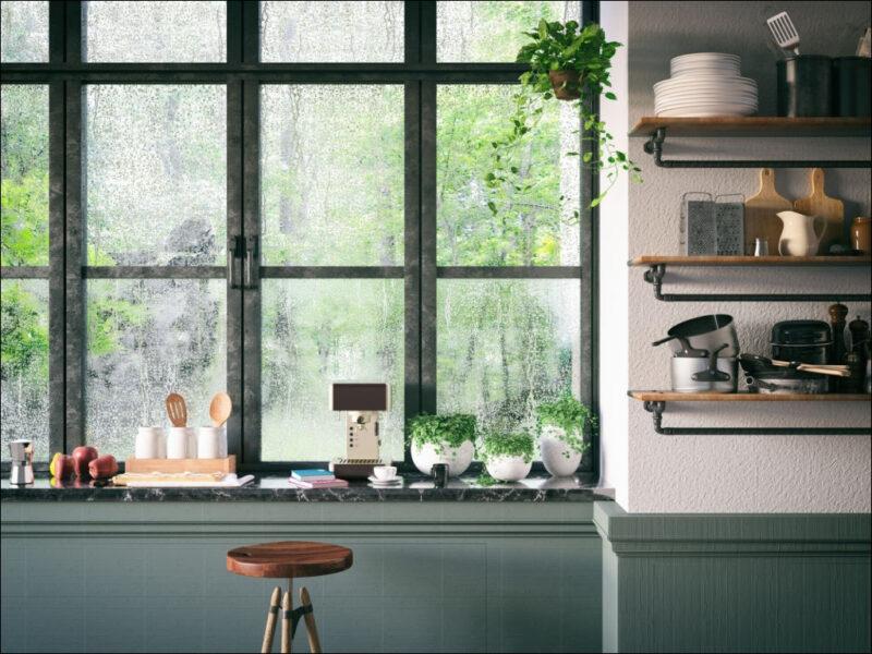 hình ảnh mưa rơi ngoài cửa sổ bên trong căn nhà ấm áp