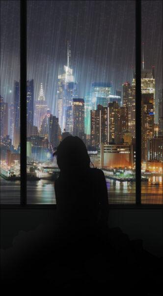 hình ảnh mưa rơi ngồi ngắm mưa bên cửa kính