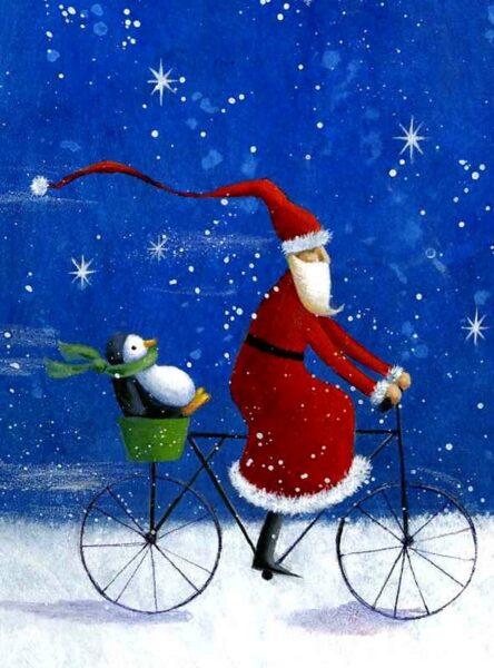 hình ảnh ông già Noel đạp xe đạp