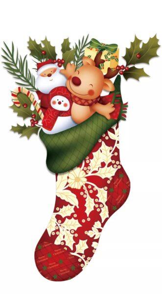 hình ảnh ông già Noel và chiếc tất đỏ