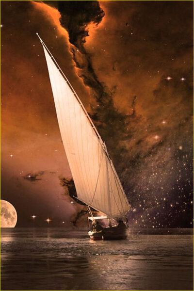 Hình ảnh thuyền buồm ban đêm trên biển