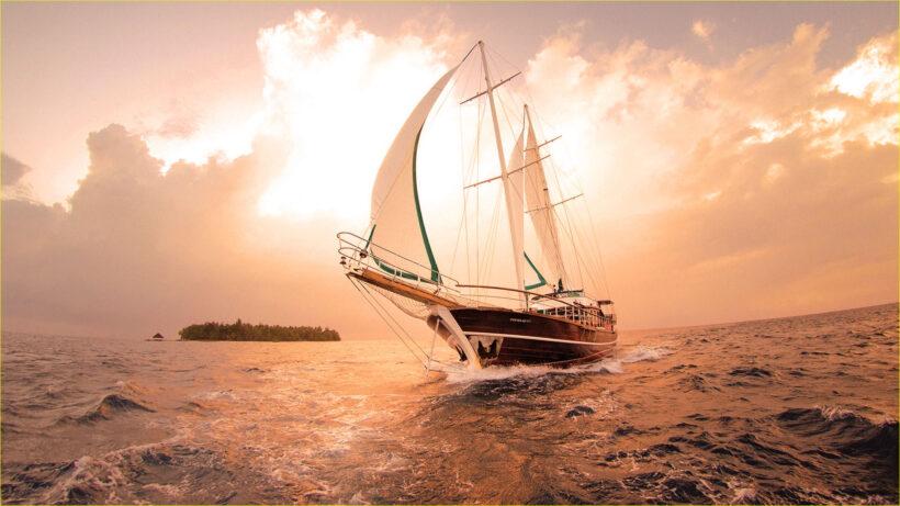 Hình ảnh thuyền buồm đón bình minh trên biển