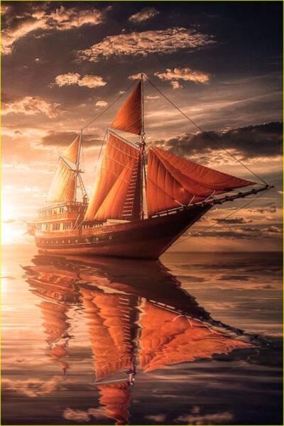 Hình ảnh thuyền buồm hùng vĩ