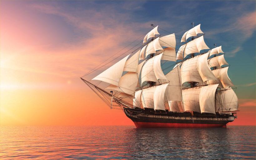 Hình ảnh thuyền buồm xuôi hướng về phía mặt trời