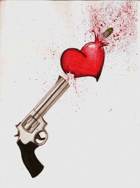 hình ảnh trái tim buồn bị thương do súng bắn