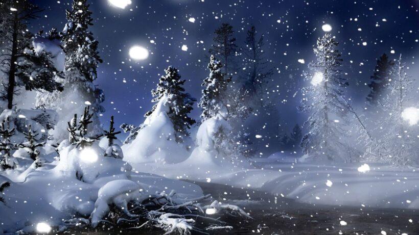 Hình ảnh tuyết rơi ban đêm