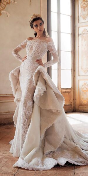 hình ảnh váy cưới đuôi cá ren