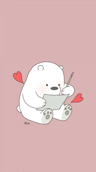 hình bé gấu cute đang vẽ tranh cho iphone